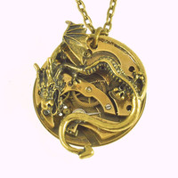 Steampunk Dragon Pendant - Lordship - Unisex Vintage Jewelry - Gear Necklace
