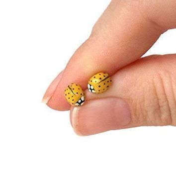 Tiny Yellow Polymer Clay Ladybug Stud Earrings with Surgical Steel, Titanium, or Sterling Silver Posts, Hypoallergenic