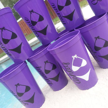 Bachelorette beach pool party tumbler cups personalized gift choose your colors