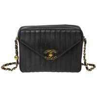 Chanel Vintage Front Pocket in black vertical quilted caviar leather