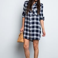 Plaid to the Bone Boyfriend Tunic in Navy