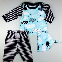 Baby take home outfit - baby boy outfit - newborn clothing set - knot hat outfit