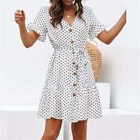 Chiffon Summer Dot Print Dress with V Neck Button Down Style