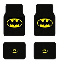 Officially Licensed Universal Fit Front and Rear Logo Carpet Floor Mats - Batman Classic Logo