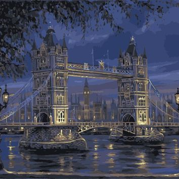 Hand painted DIY oil paintings on canvas painting by numbers wall art pictures Home Decor coloring London Tower Bridge YXZ0 WQ18