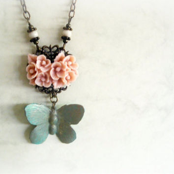 Butterfly and roses -Romantic Necklace.Soft pink resin flower cameo, verdigris patina, ivory fossil stone,brass filigree. gift for her