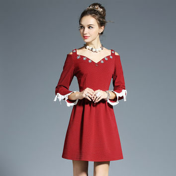 Women Plus Size Embellished Cold Shoulder Double V Dotted Red Fit Flare Occasion Party Dress Vestidos l-4xl 5xl