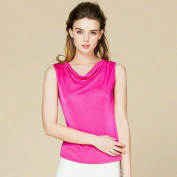 DCCKHY9 100% pure REAL SILK sleeveless women solid fashion basic shirt draped neck barlet femininas tank top vest light colors new tunic