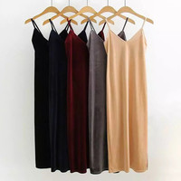Sexy Velvet Brandy Melville Deep V-Neck Spaghetti Strap Slim Sheath Packege Hips Split Hem Long Dress Trendy Women femme 5 Color