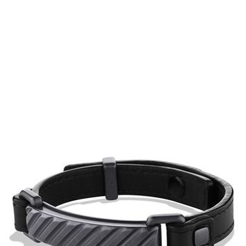 Men's David Yurman 'Modern Cable' ID Bracelet in Black Leather