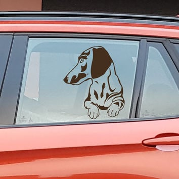 Car Window Decal  Dachshund Dog Decals Paws Vinyl Sticker fits for Hood,  Laptop  Macbook any Gadget   MM226