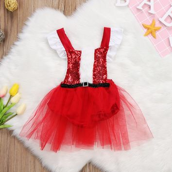 Cute Toddler Girls Kids Party Xmas Dresses Wedding Pageant Belt Tulle Dress Christmas Clothes