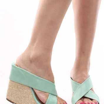 MINT FAUX SUEDE BAMBOO WOVEN SLIP IN PLATFORM WEDGE SANDALS