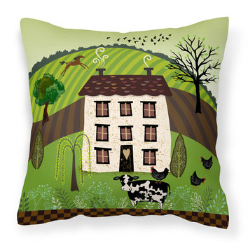 Folk Art Country House Fabric Decorative Pillow VHA3024PW1818