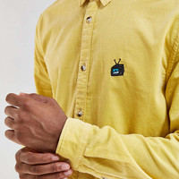 UO Embroidered Overdyed Corduroy Button-Down Shirt - Urban Outfitters