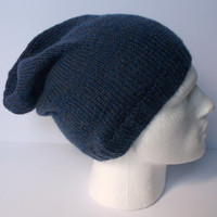 Denim, light blue. Hand knitted men's slouchy beanie hat. Adult or teenager.