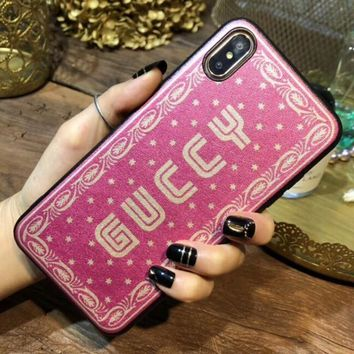 GUCCI Fashionable Simple Letter Mobile Phone Cover Case For iphone 6 6s 6plus 6s-plus 7 7plus 8 8plus X XSMax XR Rose Red