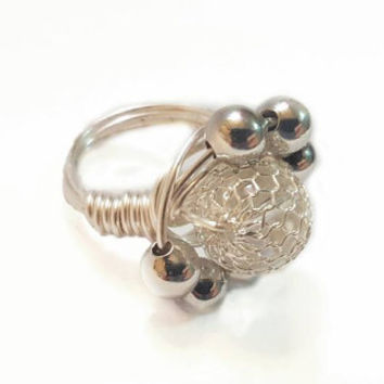 One of a kind handcrafted silver-plated wire wrapped ring