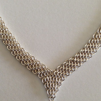Silver Necklace, sterling silver necklace, woven necklace, chain mail, silverbymaggie, chain necklace, fashion jewelry, chic jewelry, gifts