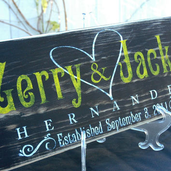 Personalized Established Wedding Sign, Custom Made Name Sign, Rustic Distressed Finish