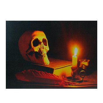"LED Lighted Antique Candle and Skull Halloween Canvas Wall Art 12"" x 15.75"""