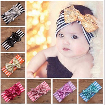 Sequin bow striped headbands