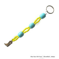Yellow and Aqua Teal Cowboy Boot Keychain   - Item # 20150017