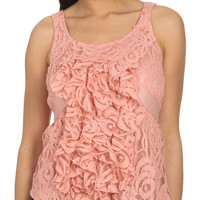 Lace Ruffle Front Tank - Teen Clothing by Wet Seal