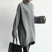 Korean Style Loose Casual Women Sweaters 2017 Autumn and Winter New Long Sleeve Turtleneck Cotton Sweaters Women Pluz Size Tops