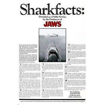 JAWS MOVIE SHARK FACTS POSTER scary startling educational MAN EATING 24X36