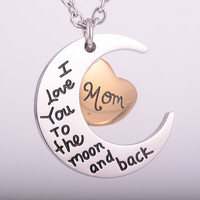 "Cremation Pendant ""I Love You To The Moon and Back"" ""Mom"""
