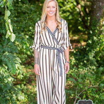 Ivory Striped Jumpsuit