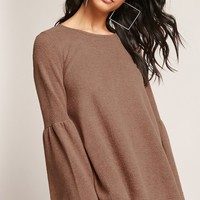 Bell-Sleeve Sweater-Knit Top