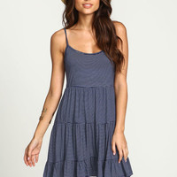 BLUE STRIPED TIERED JERSEY DRESS