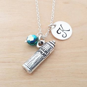 Hair Spray Necklace - Hairdresser Gift - Birthstone Necklace - Personalized Gift - Initial Necklace - Sterling Silver Jewelry - Gift for Her