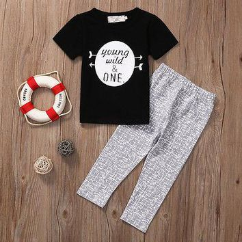 2pcs Baby Set Newborn Baby Boys Kids Set young wild one Letter T-shirt  White Round Tops+Gray Pants Leggings Outfit Clothes
