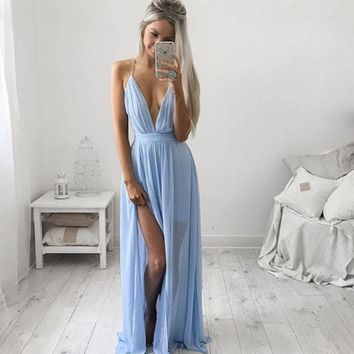 Sky Blue Strappy Chiffon Maxi Prom Dress Day-First™