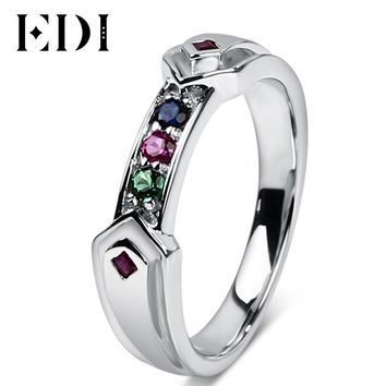 EDI 925 Sterling Silver Simulated Ruby Sapphire Ring For Women Unique Harley Quinn Rings Fine Jewelry Gold Plated Engagement