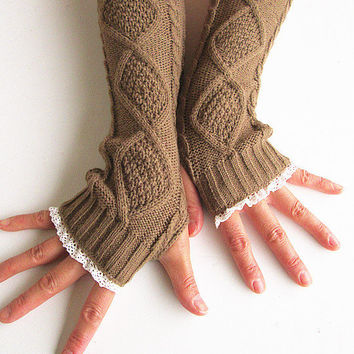 Knit Arm Warmers In Tan-Fingerless Knit Gloves -Women's Gloves-Wrist warmers-Lace Gloves