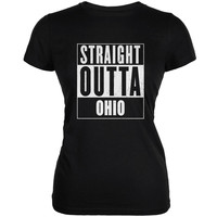 Straight Outta Ohio Black Juniors Soft T-Shirt