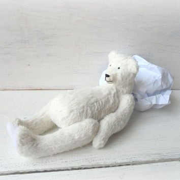 White teddy bear Polar bear Stuffed Artist teddy bear Interir toy Gift for her Gift for him Gift for man Collectible Gift for Mothers Day