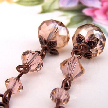 Copper Crystal Earrings, Cut Crystal Beads, Copper Earrings, Leverback, Sparkly, Vintage Style, Womens Jewelry