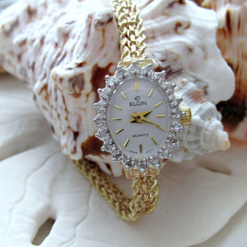 14k Solid Gold Elgin Ladies Watch with Diamonds 6 inch