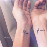 "calligrahy ""live free"" temporary tattoo - InknArt Temporary Tattoo - wrist quote tattoo body sticker fake tattoo wedding tattoo small tattoo"