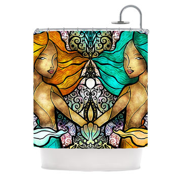 "Mandie Manzano ""Mermaid Twins"" Shower Curtain"