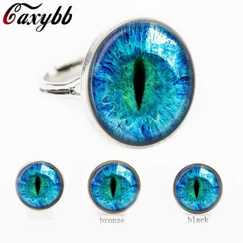 2016 free shipping blue Dragon Eye Photo Glass Cat Eye ring gift for send friend adjustable rings handmade 100%