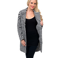 Black & White Houndstooth Overlarge Coat