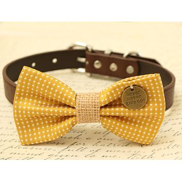 Mustard Bow Tie attached to brown dog collar, Charm, Cat bow, Burlap