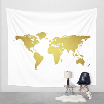 Faux Gold Foil World Map Wall Tapestry, Wall Hanging, World Map Decor, Home Decor, World Map Art, Map of the World, Gold + White Decor