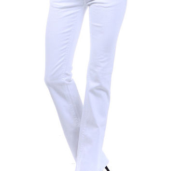 5 pkt White Denim Jeans with white thread and back patch
